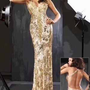 Cassandra Stone Sequined Formal Prom Dress